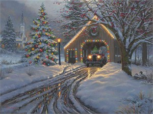 "Mark Keathley Hand Signed and Numbered Limited Edition Embellished Canvas Giclee:""Christmas Crossing"""