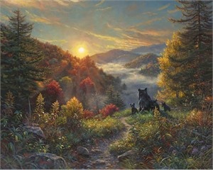 "Mark Keathley Hand Signed and Numbered Limited Edition Embellished Canvas Giclee:""New Day"""