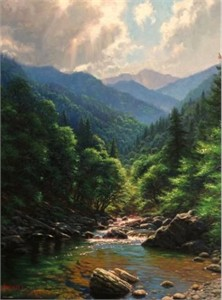 "Mark Keathley Hand Signed and Numbered Limited Edition Embellished Canvas Giclee:""Love the Smokies"""