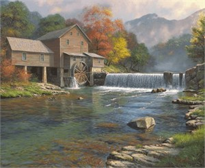"Mark Keathley Handsigned and Numbered Limited Edition Canvas Giclee:""The Old Mill"""