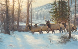 "Mark Keathley Hand Signed and Numbered Limited Edition Embellished Canvas Giclee:""Morning Silence"""