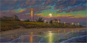 "Mark Keathley Hand Signed and Numbered Limited Edition Embellished Canvas Giclee:""Twilight Moon"""