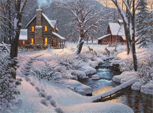 "Mark Keathley Hand Signed and Numbered Limited Edition Embellished Canvas Giclee:""Warm & Cozy"""