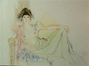 """Susan Sahall Hand Signed Publisher Proof Lithograph """"Print Unique"""":""""Reclining Young Woman"""""""