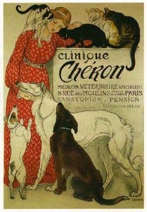 "Steinlen Hand Signed Publisher Proof Hand-drawn lithographic poster:""Clinique Cheron"""