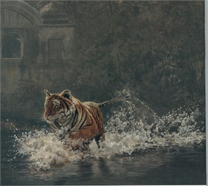 "John Serrey-Lester Hand Signed and Numbered Limited Edition Giclee on Canvas:""Rajbagh Run """