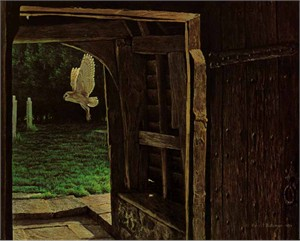 "Robert Bateman Handsigned & Numbered Limited Edition Giclee on Canvas:""Barn Owl in the Churchyard"""