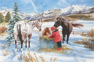 "Carla D'aguanno Handsigned & Numbered Limited Edition Giclee on Canvas:""Hoofprints in the Snow """