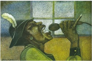 "Charles Bibbs Hand-signed and Numbered Limited Edition Giclee Print:""The Singer"""