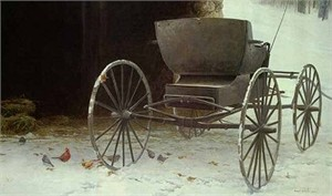 "Robert Bateman  Handsigned and Numbered Limited Edition Renaissance Giclee on Canvas:""Old Buggy and Winter Birds"""