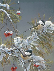 "Robert Bateman Handsigned and Numbered Limited Edition ClasArt Giclee on Board:""WINTER SONG - CHICKADEES """