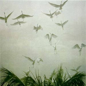 "Robert Bateman  Handsigned and Numbered Limited Edition Giclee on Canvas:""Egrets of the Sacred Grove"""