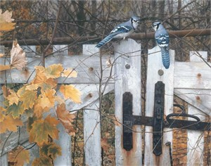 "Carl Brenders Handsigned and Numbered Limited Edition Giclee on Canvas:""Talk on the Old Fence"""