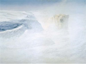 "Robert Bateman Handsigned & Numbered Limited Edition Giclee on Canvas:""White Encounter"""
