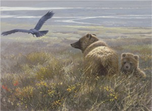 "Limited Edition Print:""Denali Encounter - Grizzly, Cub and Raven """