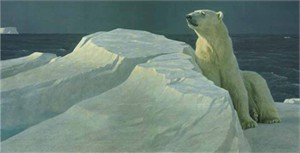 "Robert Bateman Handsigned and Numbered Limited Edition Giclee on Canvas:""Long Light-Polar Bear"""