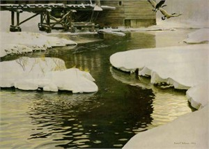 "Robert Bateman Limited Edition Paper Print:""Mill Pond - Canada Geese Premier"""