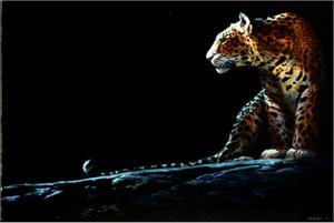 "John Seerey – Lester Limited Edition Print:""Full Moon Rising-Leopard"""