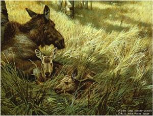 "John Seerey – Lester Limited Edition Print:""Northwoods Family-Moose"""