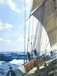 "Geoff Hunt Artist Signed Limited Edition Giclee Print:""Post Captain"""