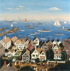 "Sally Caldwell Fisher Handsigned & Numbered Limited Edition Print:""Boothbay Harbor Yacht Club"""