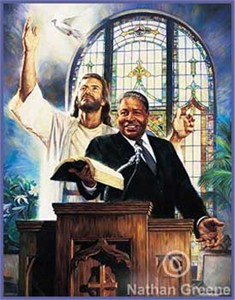 "Nathan Greene Limited Edition Canvas Giclee:""Preaching the Word"""