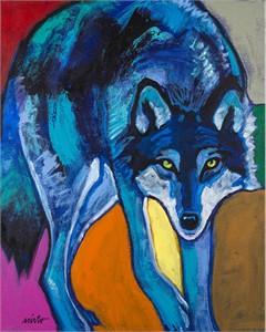 "John Neito Open Edition Canvas Giclee:""Blue Wolf"""