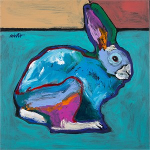 "John Neito Open Edition Canvas Giclee:""Turquoise Rabbit"""