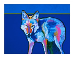 """John Neito Hand Signed and Numbered Limited Edition Giclee on Canvas:""""Blue Coyote"""""""