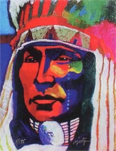 "John Neito Limited Edition Giclee on canvas:""Rain In The Face"""