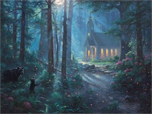 """Mark Keathley Hand Signed and Numbered Limited Edition Embellished Canvas Giclee:""""Summer Chapel"""""""