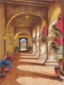 """Randy Peyton Handsigned & Numbered Limited Edition Giclee On Canvas:"""" Mission Arcade"""""""