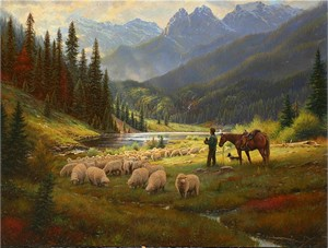 "Mark Keathley Handsigned & Numbered Limited Edition Giclee on Canvas:""He Leadeth Me """