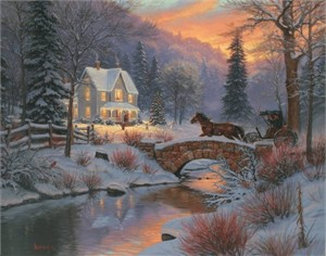 "Mark Keathley Handsigned and Numbered Limited Edition Hand Embelished Canvas Giclee:""Home for Christmas"""