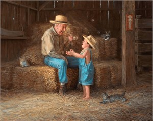 "Mark Keathley Handsigned and Numbered Limited Edition Hand Embelished Canvas Giclee:""Pure Delight"""