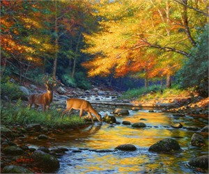 """Mark Keathley Handsigned & Numbered Limited Edition Embellished Giclee on Canvas:""""Quiet Encounter """""""