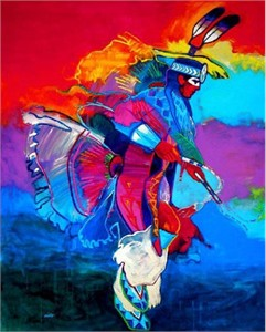 "John Nieto Handsigned and Numbered Limited Edition Giclee on Canvas:""Feather Dancer"""