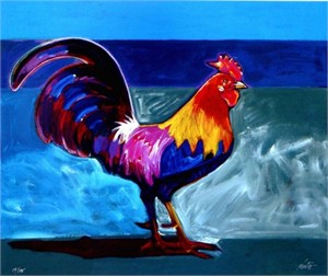 "John Nieto Handsigned and Numbered Limited Edition Giclee on Canvas:""Gallito"""