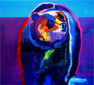 "John Nieto Handsigned and Numbered Limited Edition Giclee on Canvas:""Grizzly Bear"""