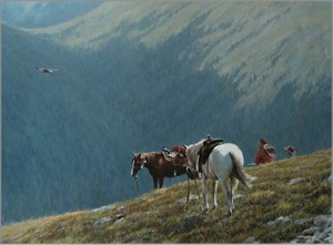"Robert Bateman Hand Signed and Numbered Limited Edition Canvas Giclee:""Cowboys and Golden Eagle"""