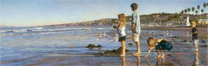 """Steve Hanks Handsigned and Numbered Limited Edition Canvas Giclee:""""Children on La Jolla Shores"""""""