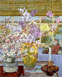 """John Powell Hand Signed and Numbered Limited Edition Serigraph on Paper:""""Lily Vase"""""""