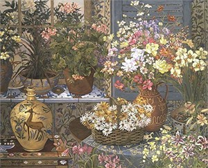 """John Powell Hand Signed and Numbered Limited Edition Serigraph on Paper:""""Spanish Tile and Geraniums"""""""