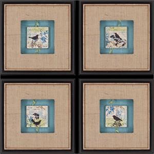 """Malanta Knowles Deluxe Framed Print: """"Black Bird Tiles Pk/4"""""""