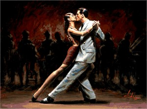 """Fabian Perez Handsigned and Numbered Limited Edition Embellished Giclee on Canvas:""""Tango in Paris II"""""""