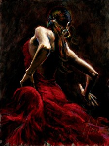 "Fabian Perez Handsigned and Numbered Limited Edition Embellished Giclee on Canvas: ""Dancer in Red"""