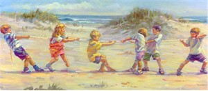 "Lucelle Raad Handsigned and Numbered Limited Edition Serigraphs: ""Tug O' War"""
