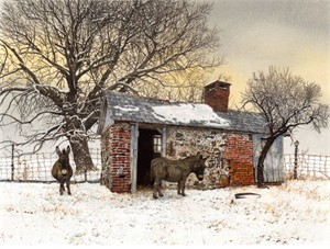 "Peter Sculthorpe Handsigned & Numbered Limited Edition Giclee on Etching Paper:""Winter Shelter"""