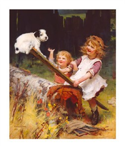 "Arthur Elsley Hand Numbered Limited Edition Print on Paper: ""The See-Saw (Happy Days)"""