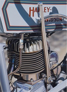 "Scott Jacobs Hand Signed and Numbered Limited Edition Canvas Giclee: ""1914 Harley-Davidson"""